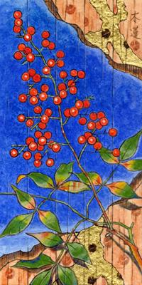 「春の庭」200x100mm 紙本着彩