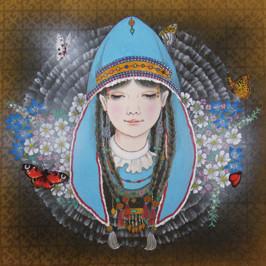 カザフの乙女 33.4x33.4 紙本岩彩