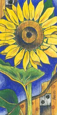 「夏の庭」200x100mm 紙本着彩
