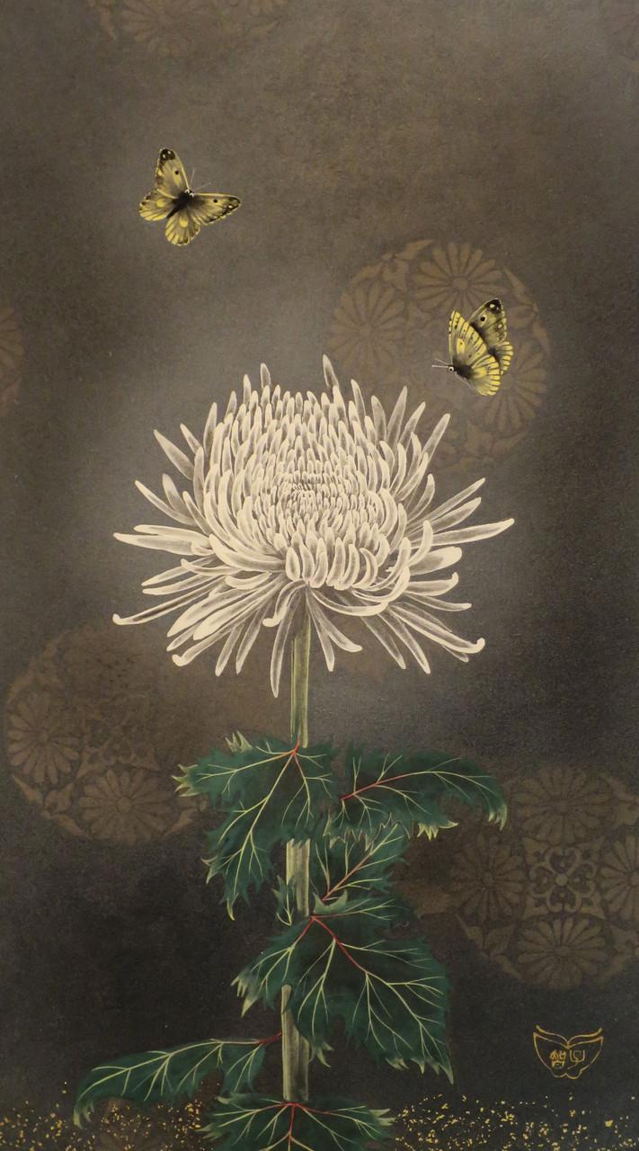 「菊-真の愛」 雲肌麻紙・岩絵具・金泥・金箔 M6 162,000円(税込)