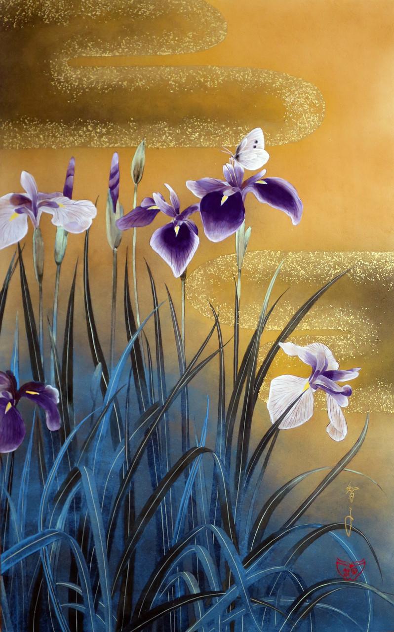 「優しいこころ-花菖蒲と蝶」 雲肌麻紙・岩絵具・金泥・金箔 M10 237,600円(税込)