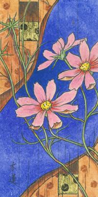 「秋の庭」200x100mm 紙本着彩