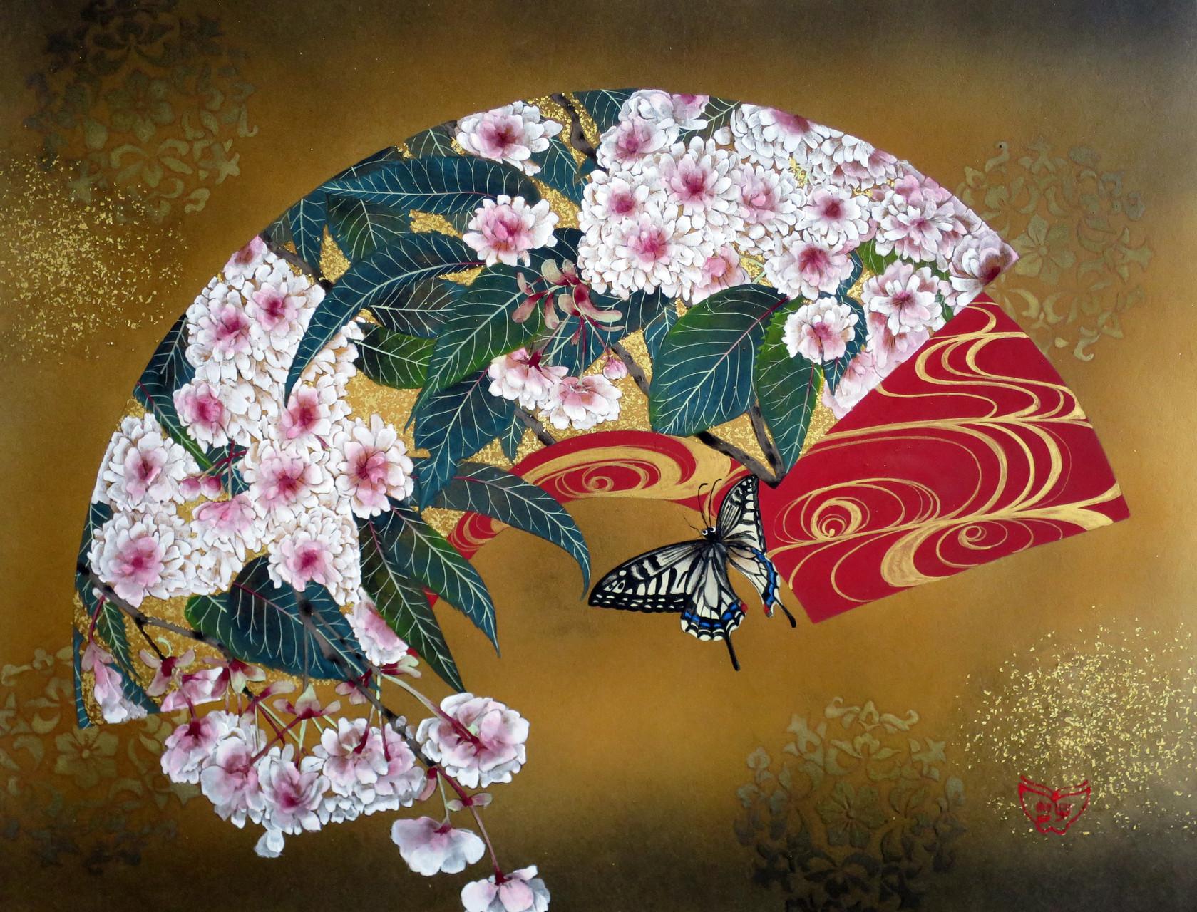 「扇面花蝶図-梅護寺数珠掛桜」 雲肌麻紙・岩絵具・金泥・金箔 F6 162,000円(税込)