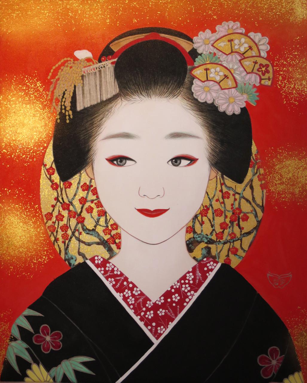 「舞妓」 雲肌麻紙・岩絵具・金泥・金箔・白金泥 F3 81,000円(税込)