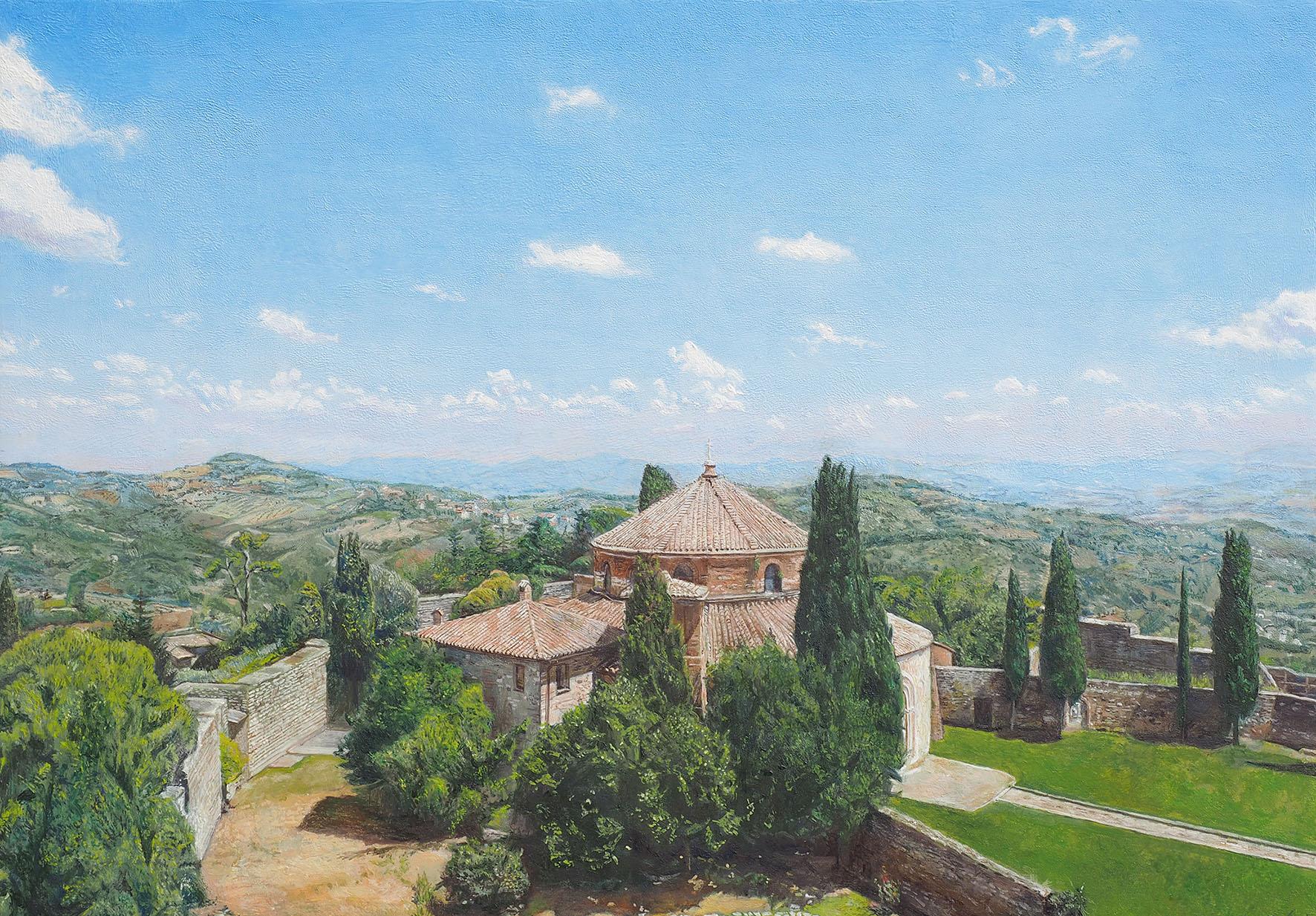 「IL  CUORE  VERDE  D`ITALIA イタリアの緑のハート」  サイズ:28㎝×40㎝  素材:油彩・板