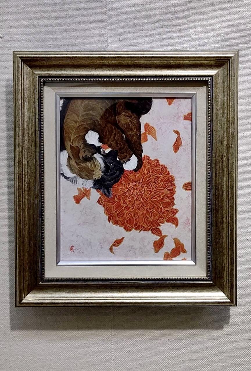 「きまぐれ」 和紙、膠、岩絵の具、墨、胡粉、雲母 F3