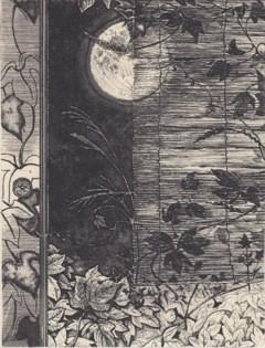 見るなの座敷(葛に月) 銅版画 20x15cm