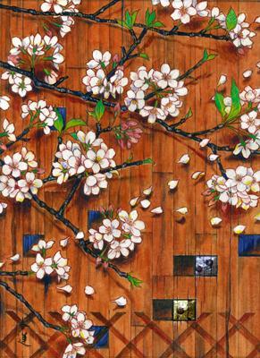くぼ田木蓮「春望」F4 日本画