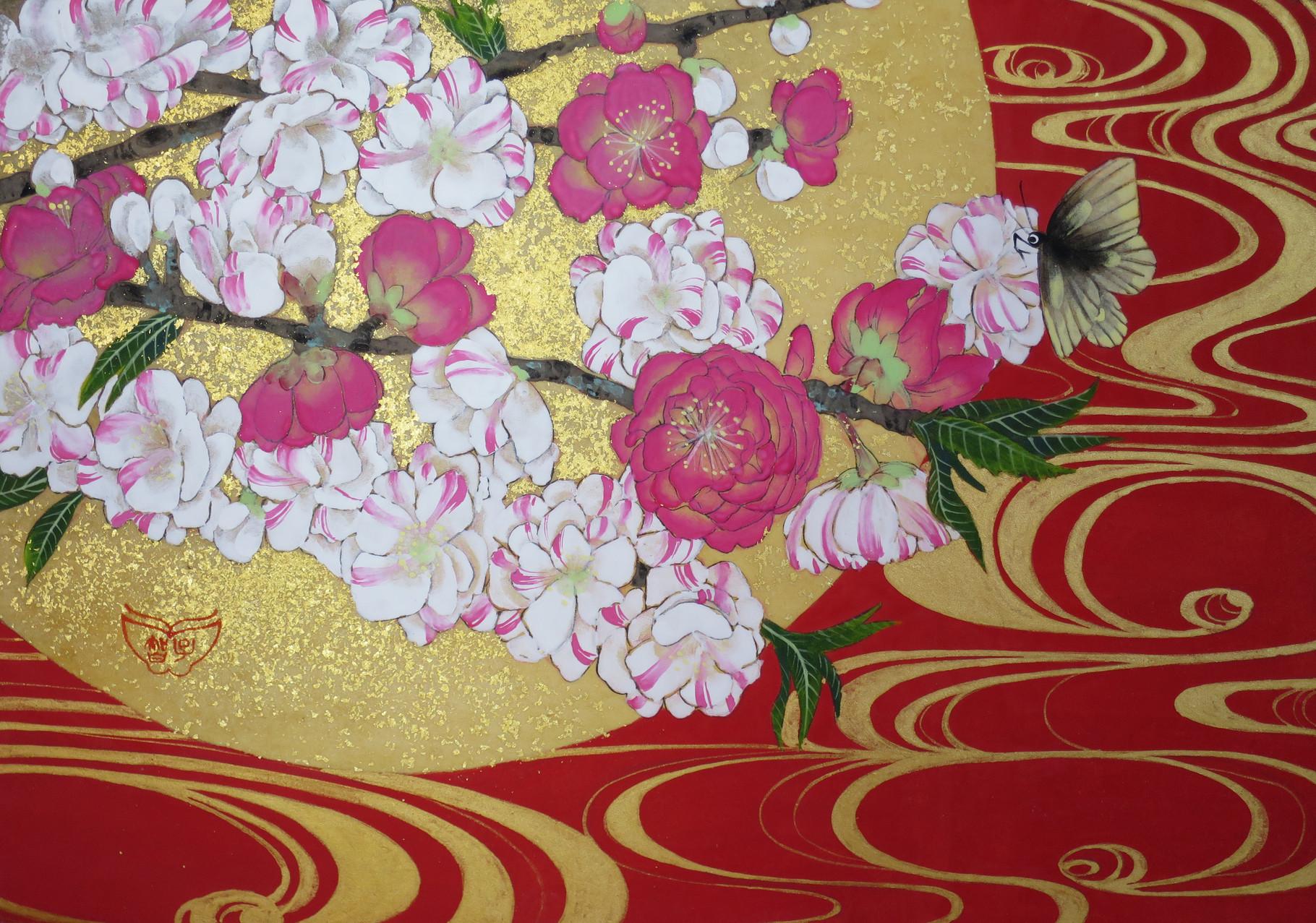 「花桃源平」 雲肌麻紙・岩絵具・金泥・金箔 SM 70,200円(税込)