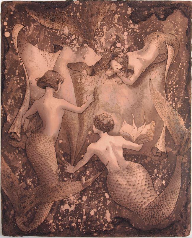 「渦潮を起こしに」  腐蝕銅レリーフ 銅/インク  45×35 cm