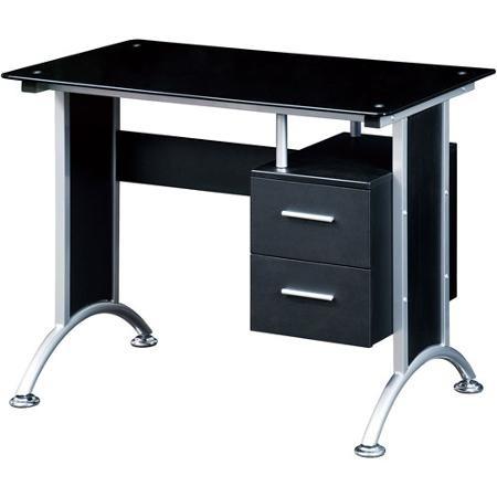 Escritorio techni mobili vidrio oficina en casa negro rta for Proveedores de escritorios para oficina