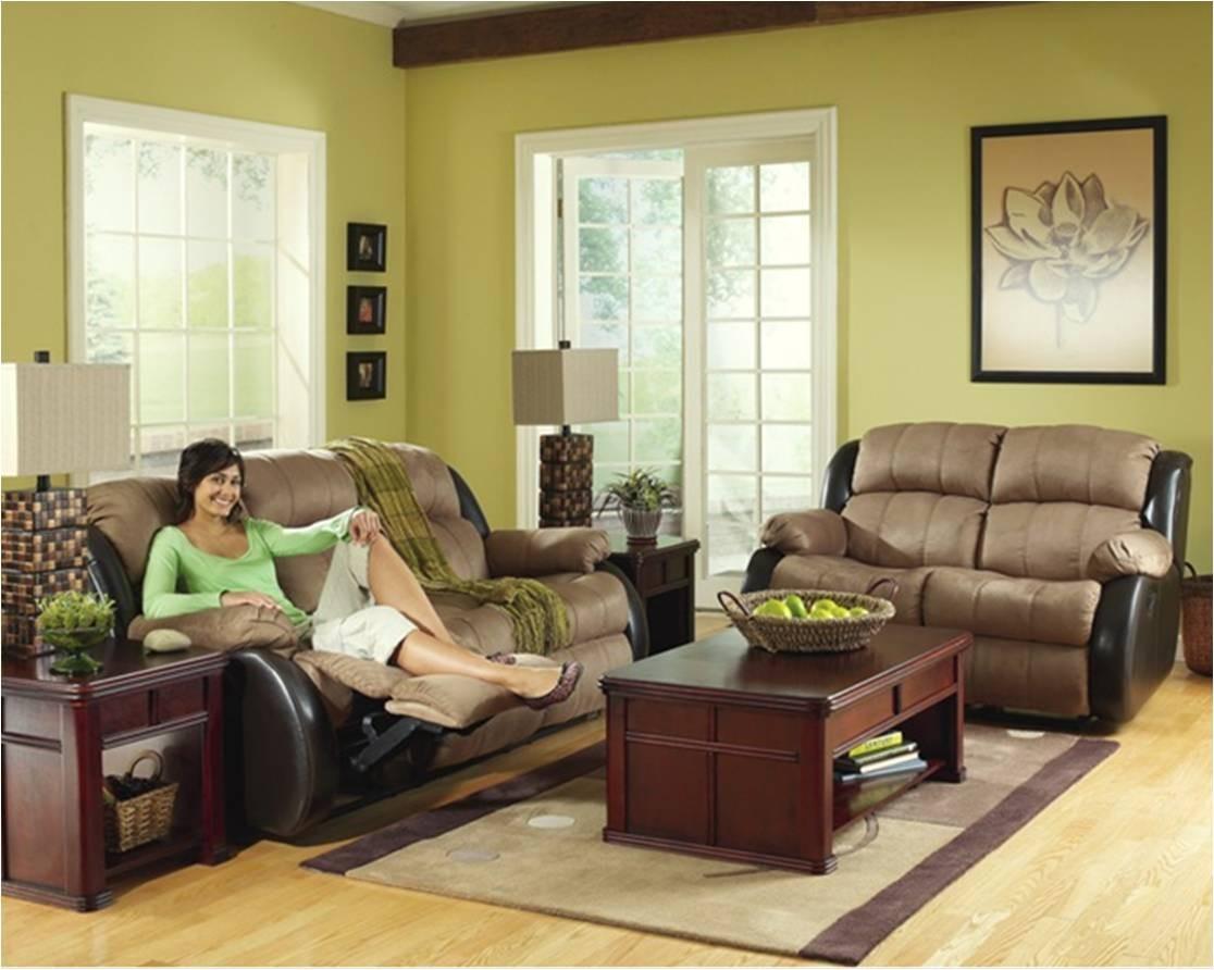 Sala de estar set de sofas 2 piezas microfibra mocha con - Sofas de dos colores ...