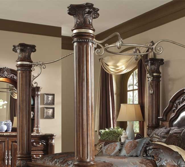 Cama de madera con dozel manhattan suite b551 71 queen for Camas con dosel de madera