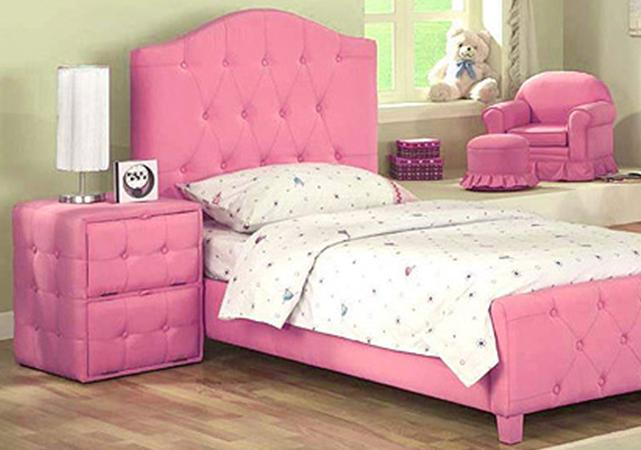 Recamara de madera para ni a diva tapizada en color rosa for Recamaras con cabecera tapizada