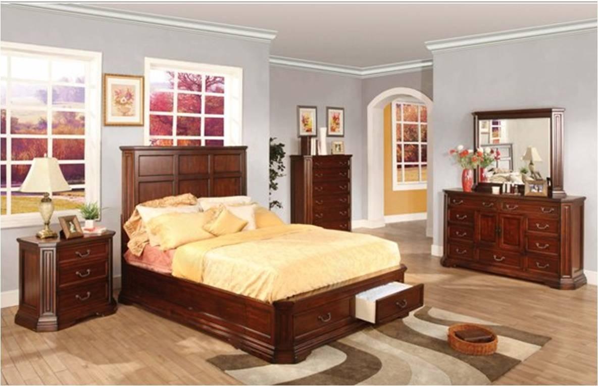recamara moderna de madera queen de 6 piezas foxhill