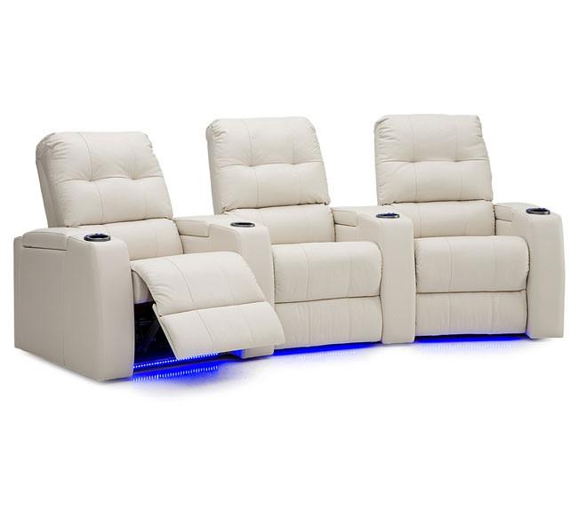 Sala teatro sillon reclinable cine en casa tela piel - Sillon reclinable piel ...