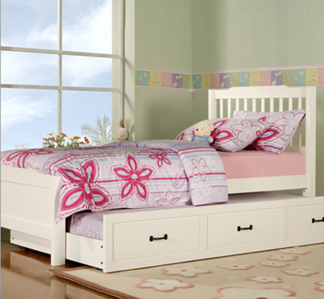 Cama de madera individual doble elise captain con trundle for Cama individual blanca