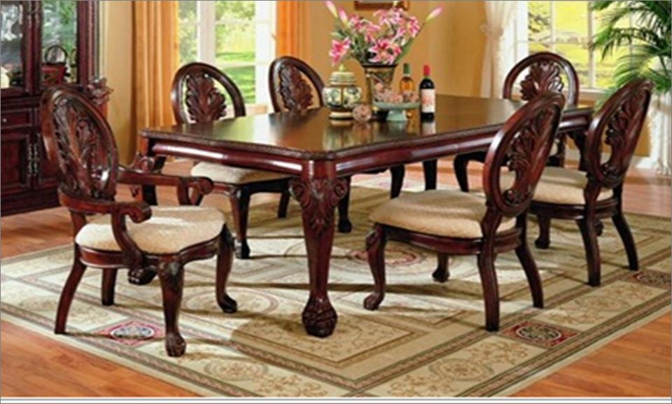 Comedor formal de madera 7 piezas por coaster 7piece for Muebles comedores de madera