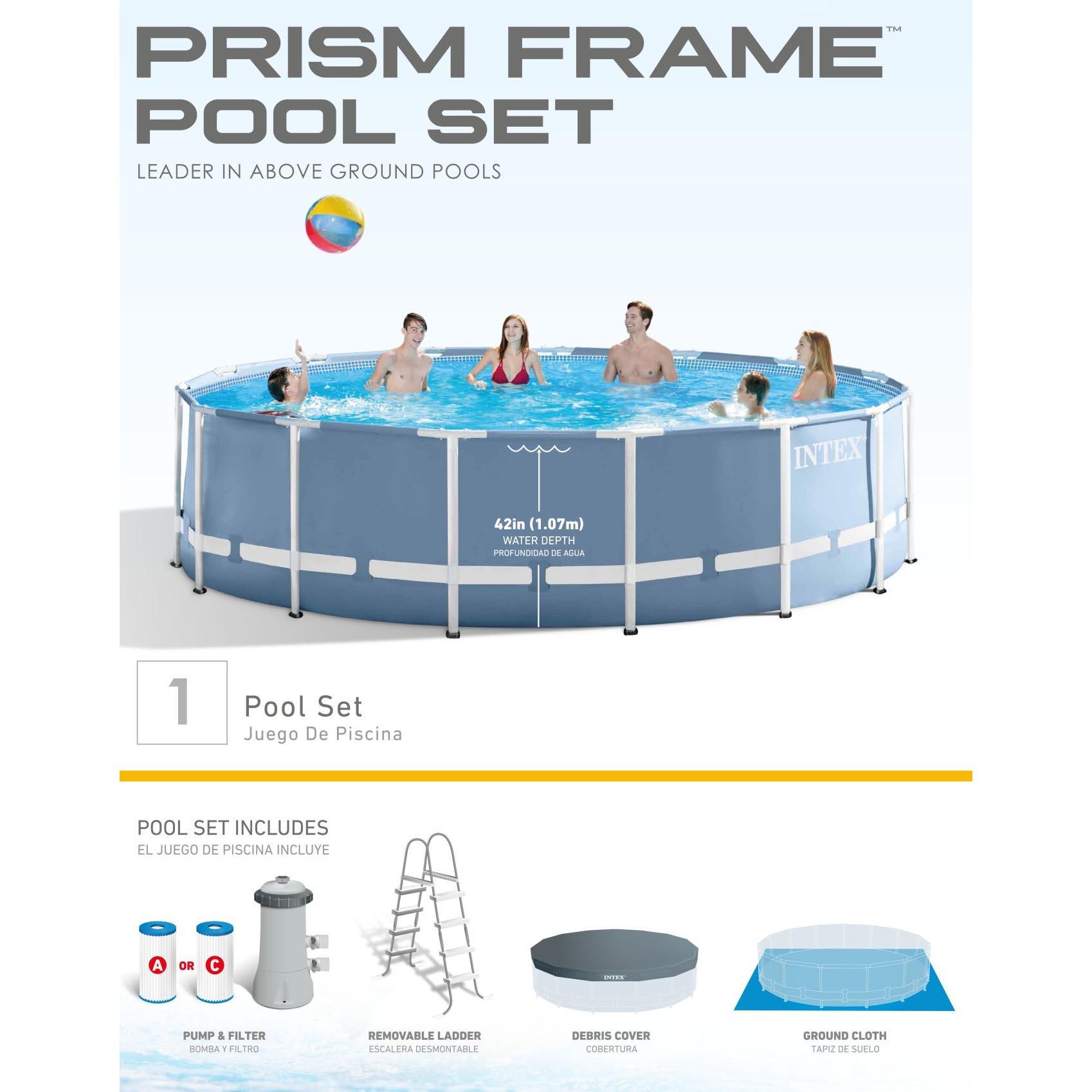 Alberca Intex 4440 galones 15 pies x 48 pulgadas estructura prisma ...