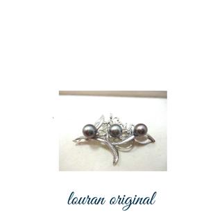 真珠のブローチ 1珠から3珠に真珠を増やす加工リフォーム