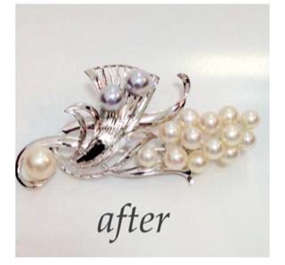 真珠のブローチ ジュエリーリフォーム&修理
