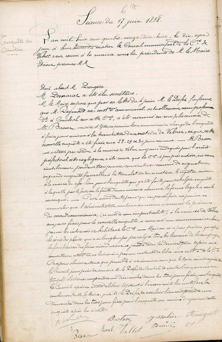 délibération du 17 juin 1898