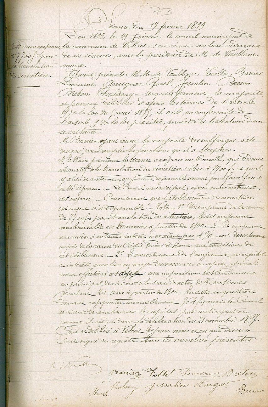 Délibération du 19 février 1899 (Demande d'emprunt au Crédit Foncier)
