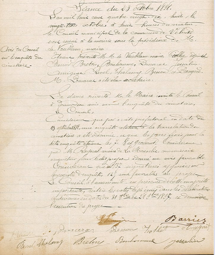 délibération du 23 octobre 1898