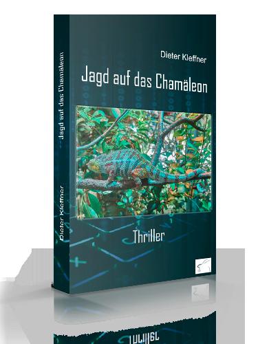 """Fotomontage des Paperback-Buchtitels """"Jagd auf das Chamäleon"""""""