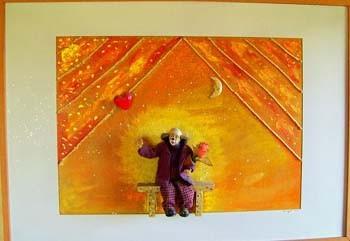 Clown (Collage im Holzrahmen, 100 x 80 cm)