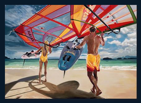 Surfer am Strand, Acryl auf Leinwand, 100 x 140cm