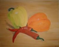 Paprika, Öl auf Leinwand, 50x40