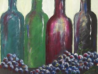 Vier Weinflaschen