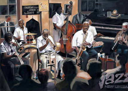 New Orleans Jazz Band, Acryl auf Leinwand, 100 x 140cm