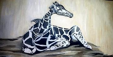 Giraffe (Acryl-Ölmischgemälde, 100 x 50 cm)