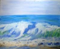Am Strand, Öl auf Leinwand, 50x40