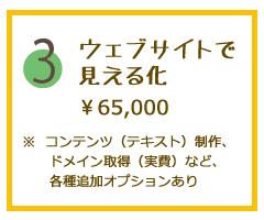 3.ウェブサイトで見える化。65000円。コンテンツ(テキスト)制作、ドメイン取得(実費)など、各種追加オプションあり。
