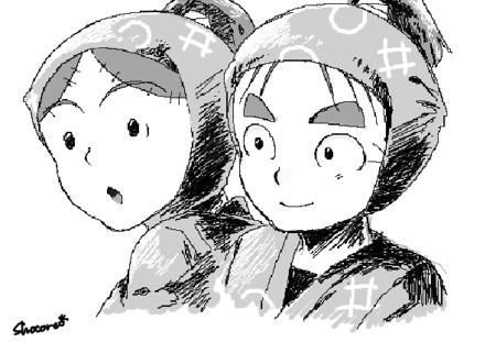友人と絵チャしたときに描いた伊助と庄左ヱ門