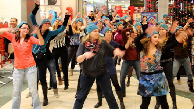 Flashmob im Shoppingcenter St. Jakobpark in Basel