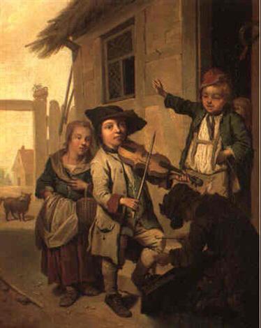 Bild vom Grünstadter Maler Seekatz: im Hintergrund unser Weinhaus Moser?