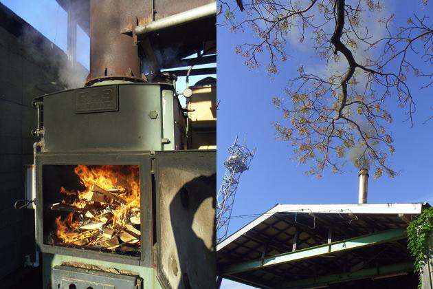 窯にはボイラーから高熱の水蒸気が送られて、クスノキのチップが蒸されていきます。