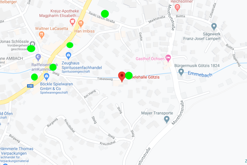 Töbelehalle und Umgebung mit Parkmöglichkeiten (grüne Punkte)