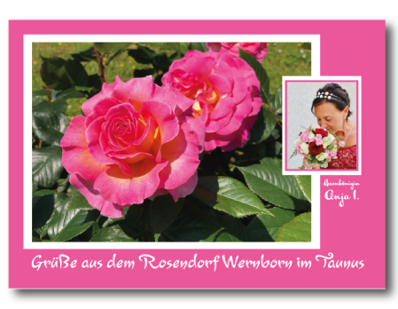 Postkarte Rosendorf Wernborn, Rosenkönigin Anja I. (Anja Semmelbauer)