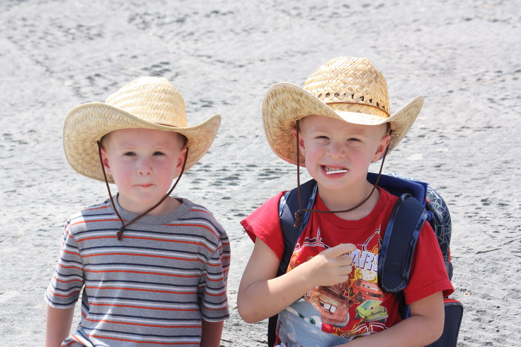 We found these hats for 25 pesos in the market.. the kids have not taken them off since.