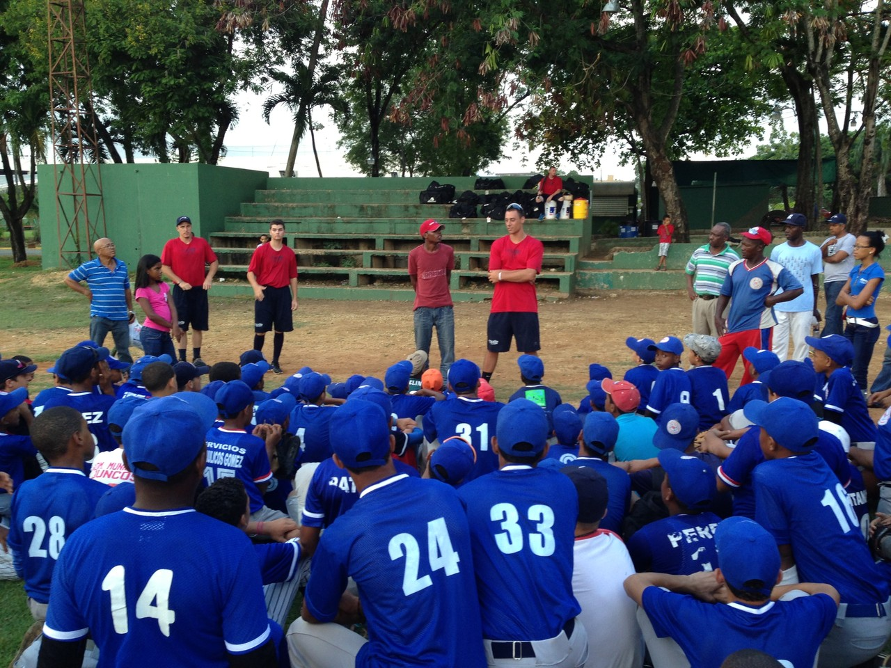 Sharing at one of the kids clinics we gave during the summer