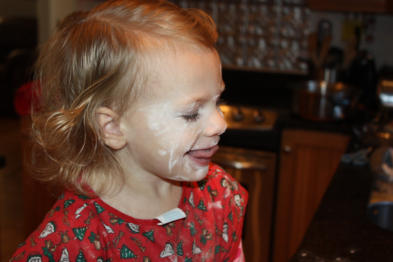 I think she got more flour on her face