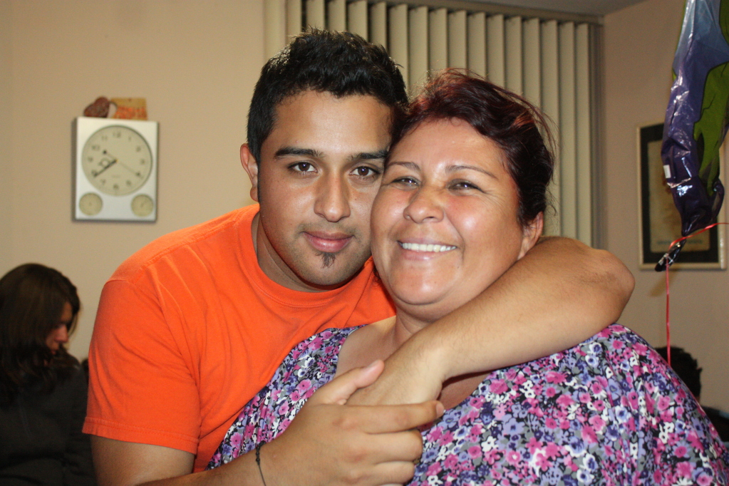 Julio and his mom. She's a sweet momma and loves Julio to pieces. I will tell you that this woman is one strong woman!