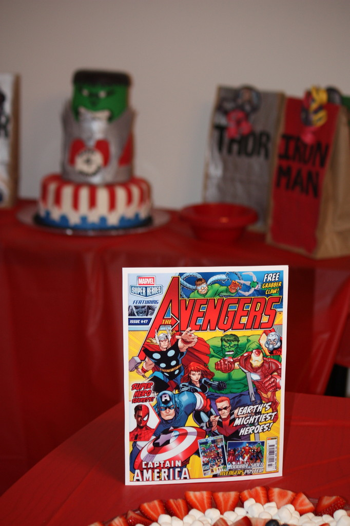 I printed off a few Avenger comic book covers and used them as decorations.