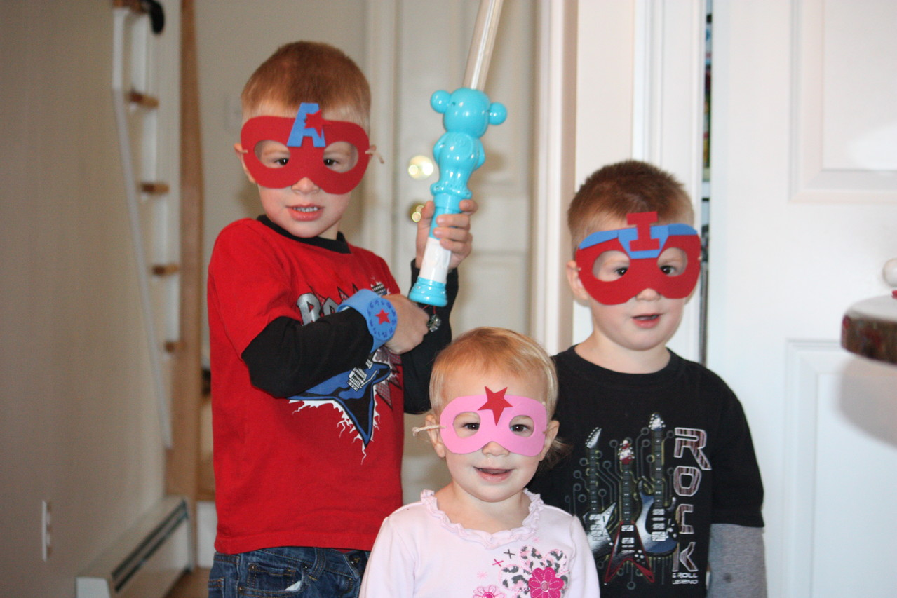 Our super-hero day... Ironman, Captain America and star super woman (Whoever that is) masks out of foam.