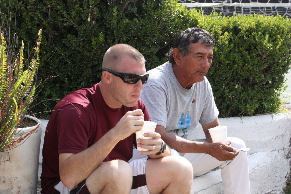 Sixto, Julio's dad and John eating ice cream!